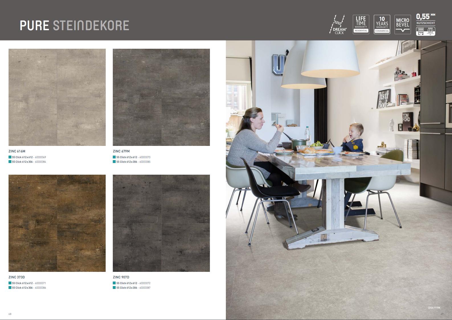Stein- und Fliesendekore für Küche und Bad in der berryAlloc Vinyl-Designbelag Kollektion PURE Click